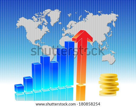 Blue business chart with arrow and map in background - stock photo