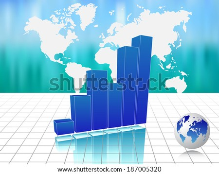 Blue business chart with map - stock photo