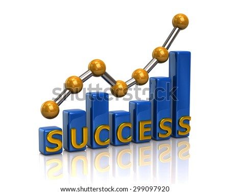 Blue business graph chart of success on white background - stock photo
