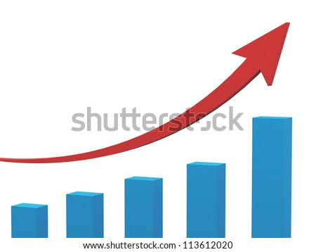Blue business growth chart and red arrow, isolated on white background. - stock photo