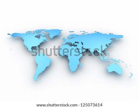Blue business world map - stock photo