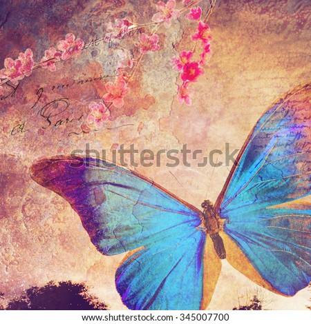 Blue butterfly background, old paper design, postcard, printable on canvas, good for scrapbooking - stock photo