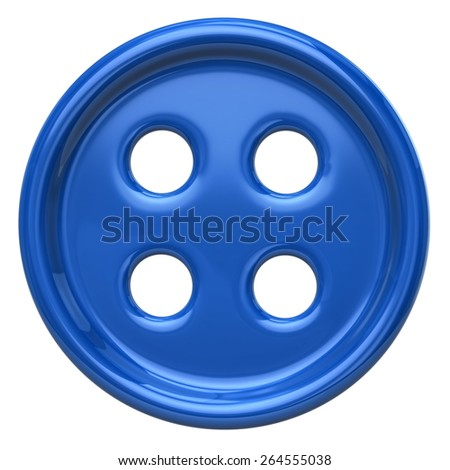 Blue button for garments - stock photo