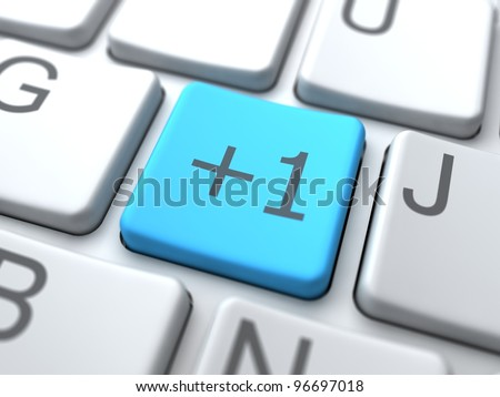Blue Button on Keyboard. Social Media Concept.