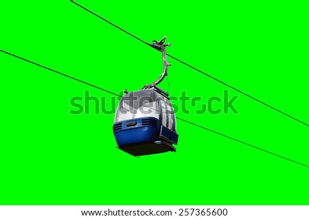 Blue cable car isolated on green screen. - stock photo