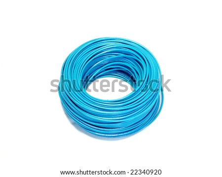 Blue cable reel isolated on white background