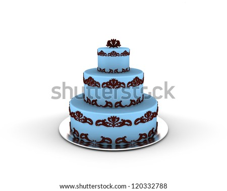 Blue cake on three floors with chocolate ornaments on it isolated on white background - stock photo