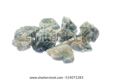 Blue Calcite rough mineral specimens on white background