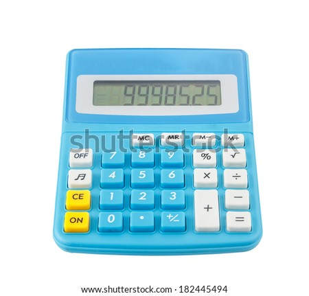 Blue calculator  display number isolated on white background