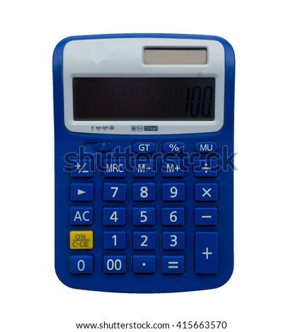blue calculator isolated on white background