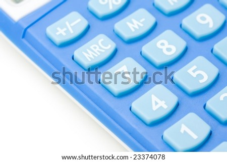 Blue calculator keypad on pure white.