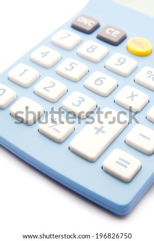 Blue calculator on white background - stock photo