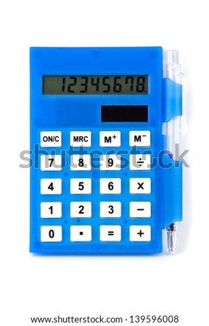 Blue calculator with pen on the isolated white background. - stock photo