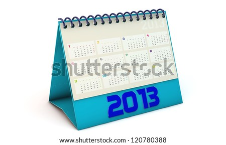 Blue Calendar 2013 in 3d on white background