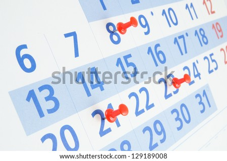 Blue calendar page close up - stock photo