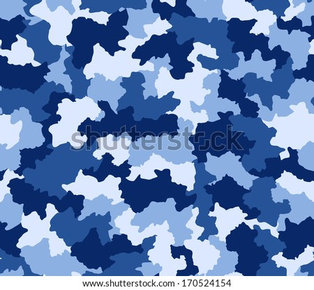 Blue camouflage pattern seamlessly tileable - stock photo