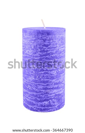 Blue candle isolated on white