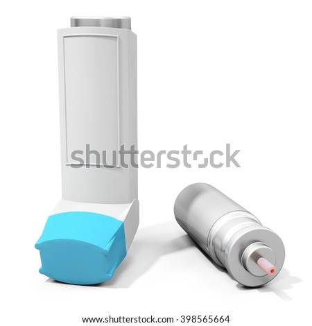 Blue cap  medicine inhaler on white background 3D illustration - stock photo