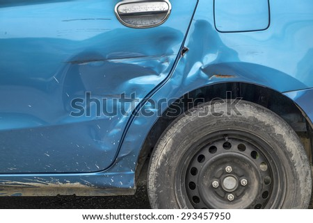 Blue Car Accident - stock photo