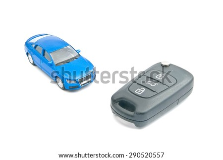 blue car and black car keys on white background