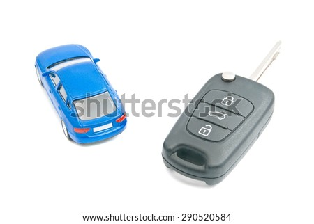 blue car and car keys on white background - stock photo