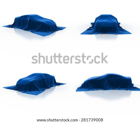 blue car covered cloth - stock photo