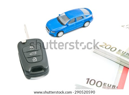blue car, euro banknotes and black car keys on white - stock photo