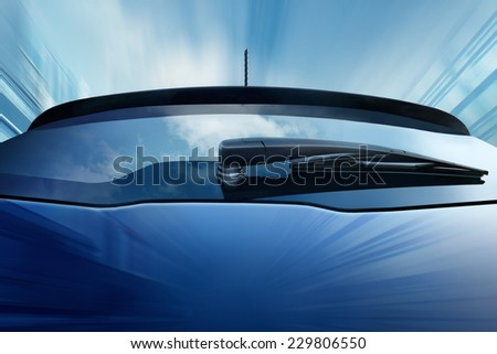 blue car on road  - stock photo