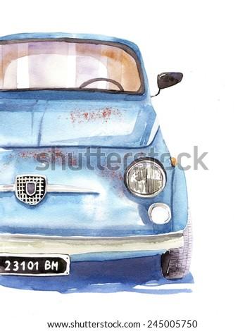 blue car  -watercolor illustration - stock photo