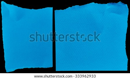 Blue cardboards on black background
