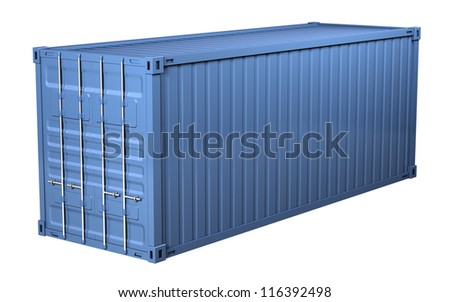 Blue cargo container - isolated on white background - stock photo