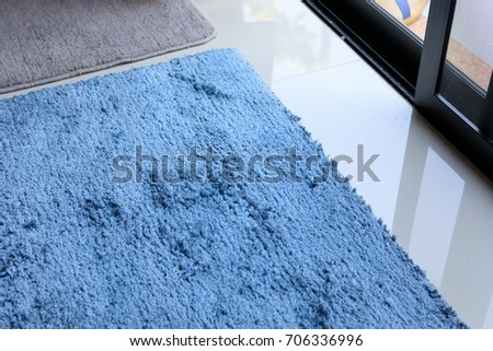 Blue Carpet Softness Texture Decoration Floor Interior Modern House
