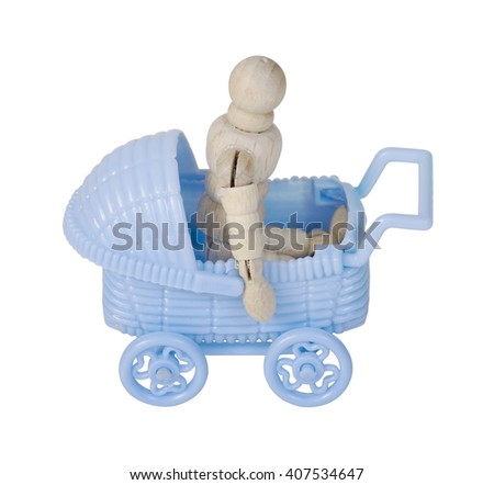 Blue Carriage used to transporting children easily - path included