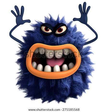 blue cartoon hairy monster 3d - stock photo