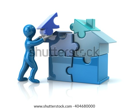 Blue cartoon man builds a puzzle house isolated on white background - stock photo