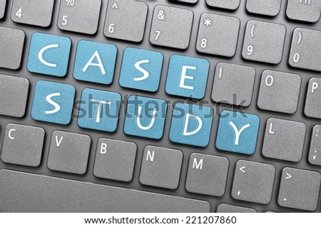 Blue case study key on keyboard - stock photo