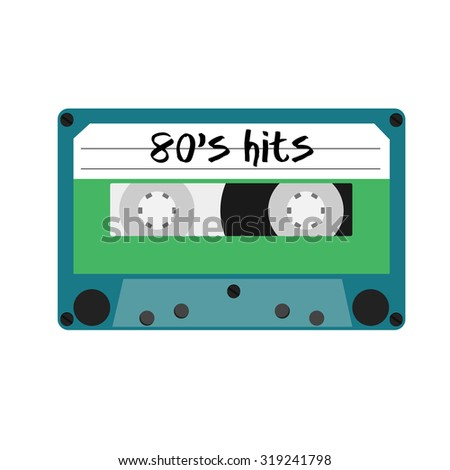 Blue cassette tape with text 80's hits. Vintage cassette - stock photo