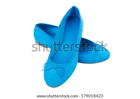 Blue casual woman shoes isolated on white background
