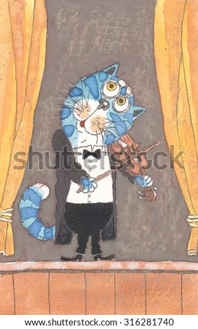 blue cat playing the violin on stage watercolor