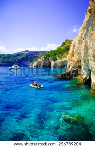 Blue caves on Zakynthos island, Greece. Famous blue caves view on Zakynthos island (Greece)