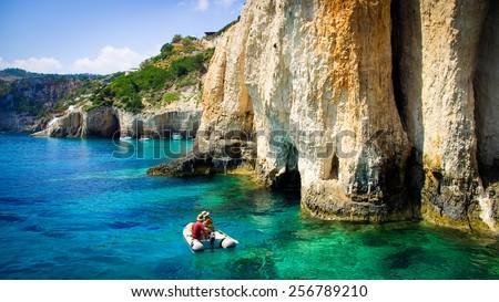 Blue caves on Zakynthos island, Greece. Famous blue caves view on Zakynthos island (Greece) - stock photo