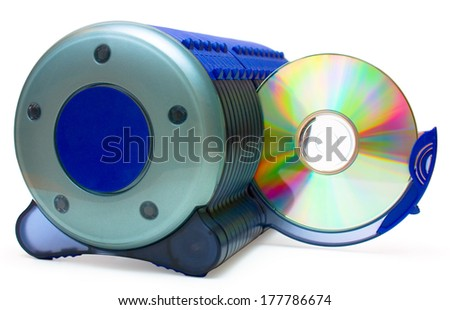 Blue CD box and disk in open section close up, isolated on white background - stock photo