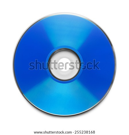 Blue CD with Copy Space Isolated on a White Background. - stock photo