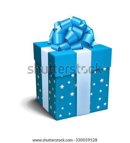 Blue Celebration Gift Box with Bow Isolated on White Background - stock photo