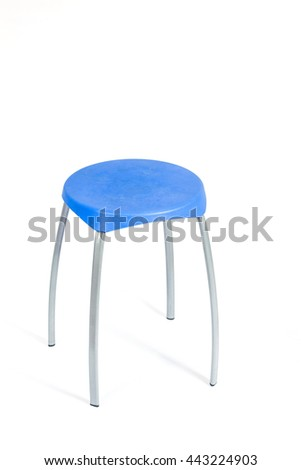Blue chair and shadow on white background,with clipping path