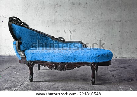 Blue Chair in vintage room  - stock photo