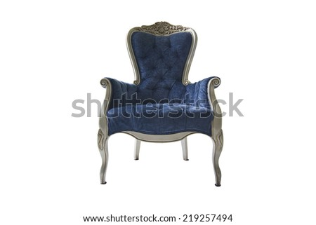 blue chair vintage isolated on white background