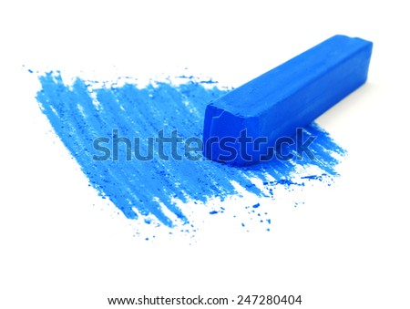 Blue chalk pastels on a white background - stock photo