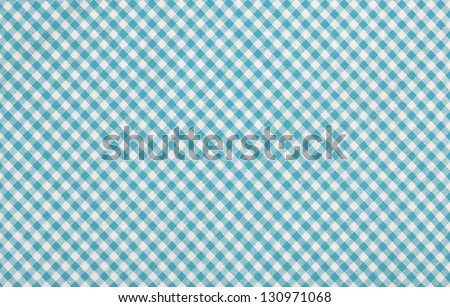 blue checkered fabric closeup , tablecloth texture - stock photo