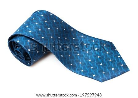 blue checkered necktie on a white background - stock photo